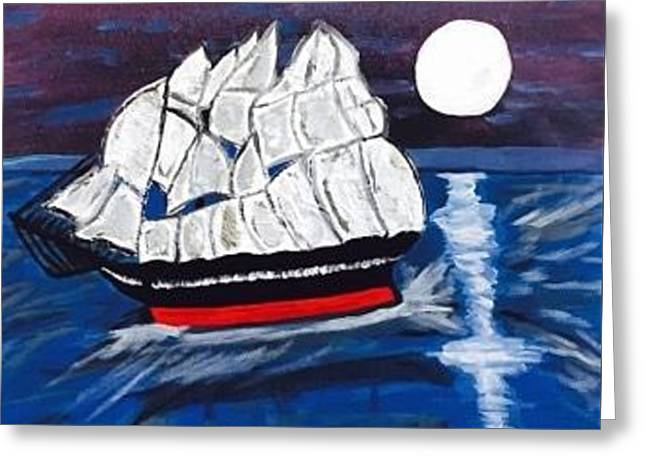 Pirate Ship Painting Original Acrylic Painting On Canvas Greeting Card