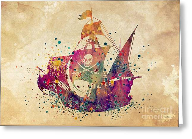 Pirate Ship Print 3 Greeting Card by Svetla Tancheva