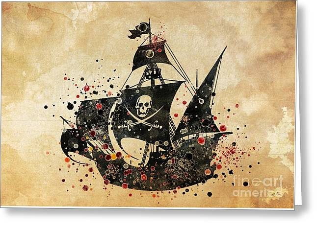 Pirate Ship Print 4 Greeting Card by Svetla Tancheva