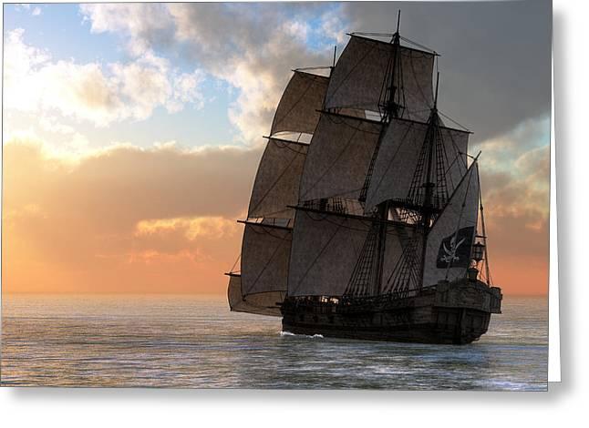 Pirate Ship Sunset Greeting Card