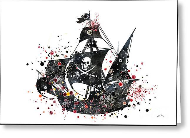 Pirate Ship Watercolor  Greeting Card by Svetla Tancheva