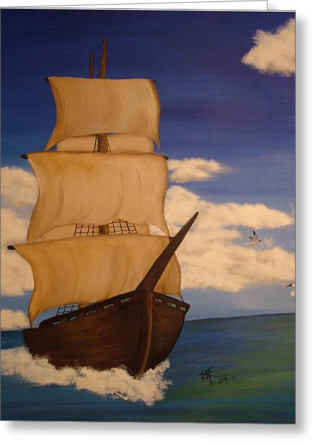 Pirate Ship With Gulls Greeting Card by Vickie Roche