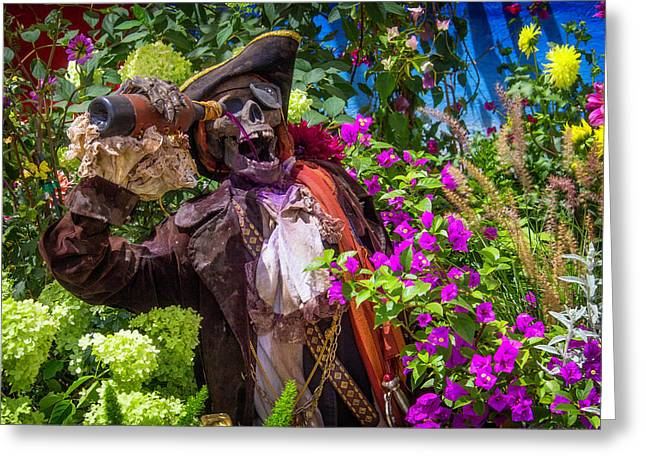 Pirate Skeleton Drinking Greeting Card by Garry Gay