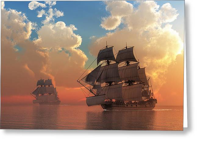 Pirate Sunset Greeting Card by Daniel Eskridge
