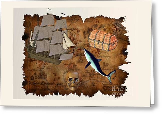 Pirate Treasure Greeting Card by Corey Ford