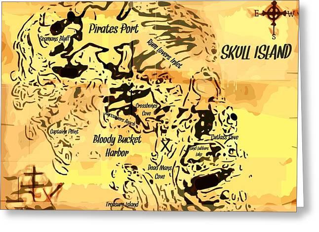 Pirate Treasure Map Skull Island  Greeting Card
