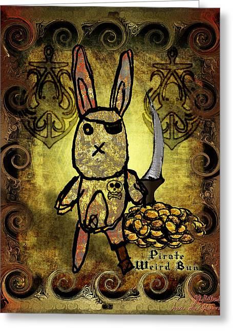 Greeting Card featuring the digital art Pirate Weird Bun by Iowan SF and Ntr HMM