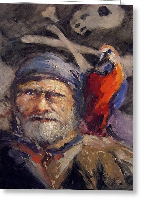 Pirate With Bird And Flag Greeting Card by R W Goetting