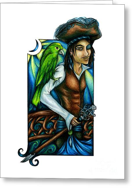 Pirate With Parrot Art Greeting Card