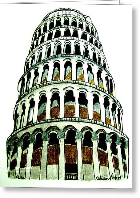 Greeting Card featuring the drawing Pisa Erected by Patricia Arroyo