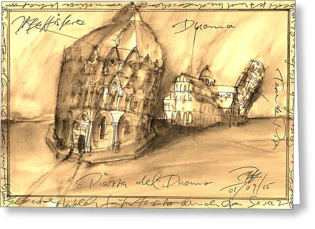 Pisa Greeting Card by Joerg Bernhard Klemmer
