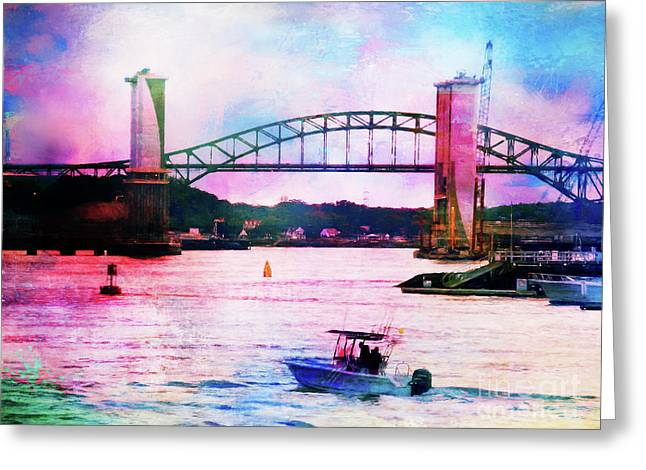 Piscataqua River Bridge From Harborwalk Park, Portsmouth New Hampshire Greeting Card