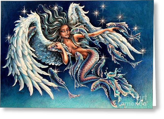 Pisces Angel Greeting Card by Christine Karron