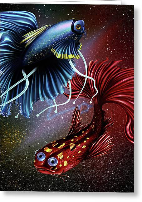 Pisces Dance Greeting Card by Kenal Louis