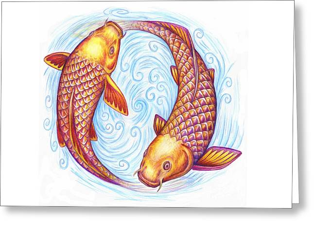 Pisces Greeting Card by Rebecca Wang