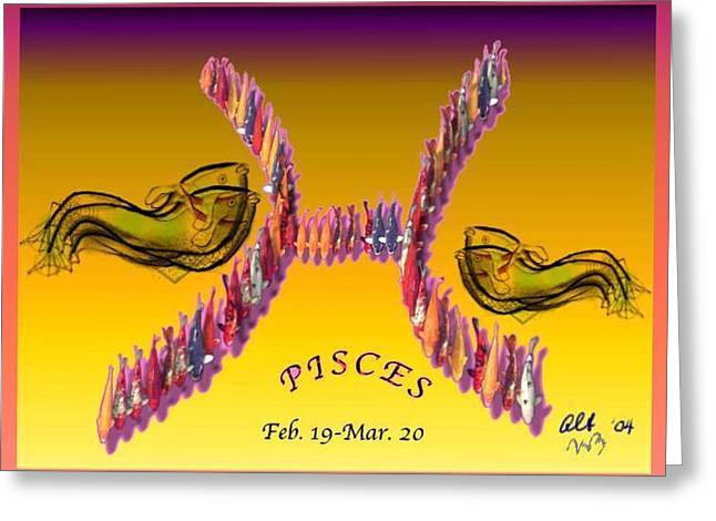 Greeting Card featuring the painting Pisces by The Art of Alice Terrill
