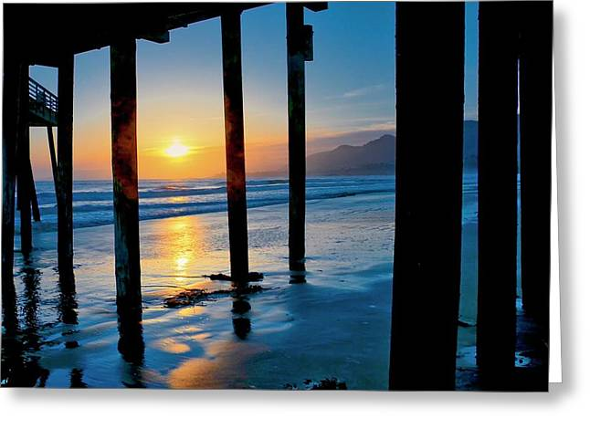 Pismo Beach Pier Sunset Greeting Card