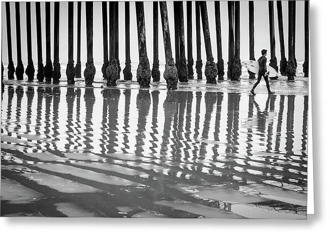 Pismo Beach Surfer Greeting Card by Ralph Vazquez