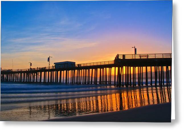 Pismo Beach And Pier Sunset Greeting Card