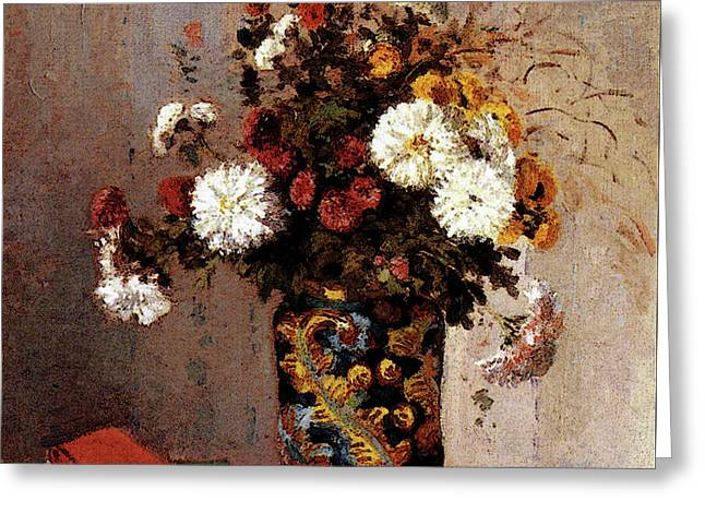 Pissarro Camille Chrysanthemums In A Chinese Vase Greeting Card by Camille Pissarro