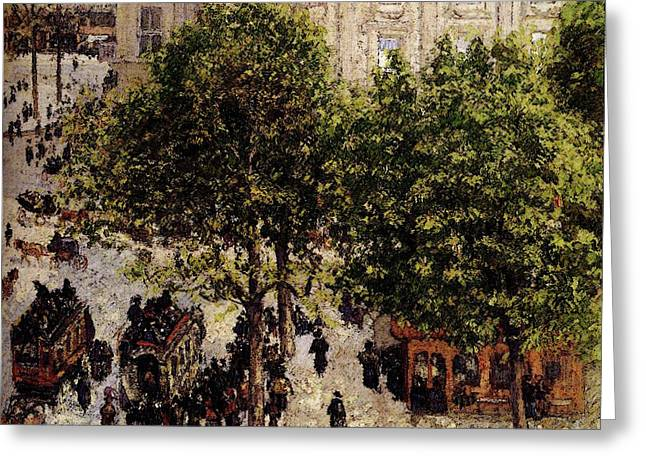 Pissarro Camille Place Du Theatre Francais Greeting Card by Camille Pissarro