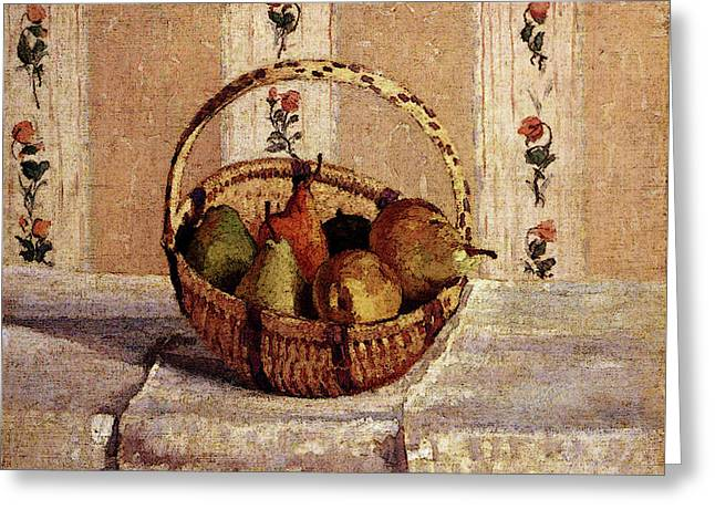 Pissarro Camille Still Life Apples And Pears In A Round Basket Greeting Card by Camille Pissarro
