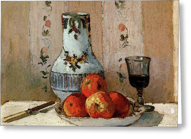 Pissarro Camille Still Life With Apples And Pitcher Greeting Card