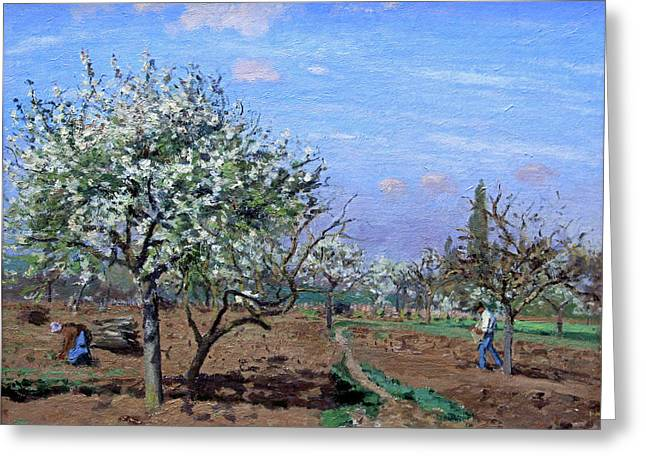 Pisssarro's Orchard In Bloom, Louveciennes Greeting Card