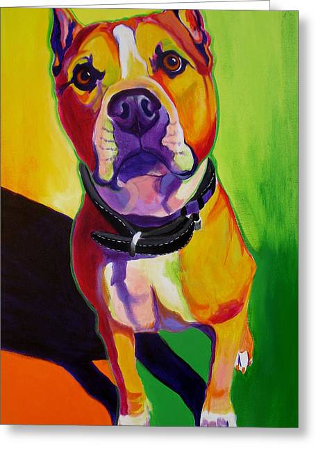 Alicia Vannoy Call Paintings Greeting Cards - Pit Bull - Fifty Greeting Card by Alicia VanNoy Call