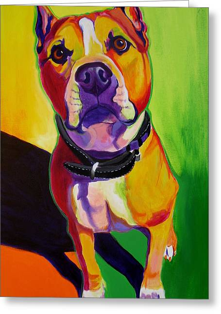 Staffordshire Bull Terrier Greeting Cards - Staffordshire - Fifty Greeting Card by Alicia VanNoy Call