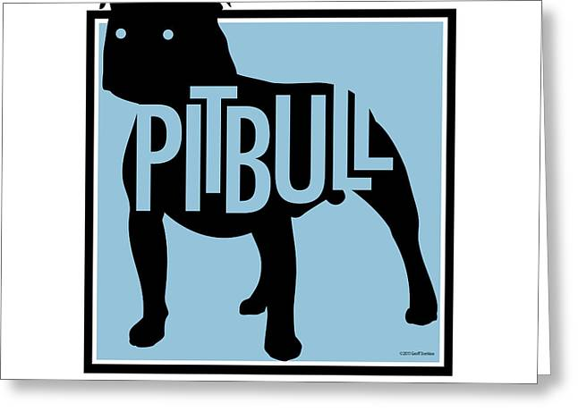Pit Bull Blue Greeting Card by Geoff Strehlow