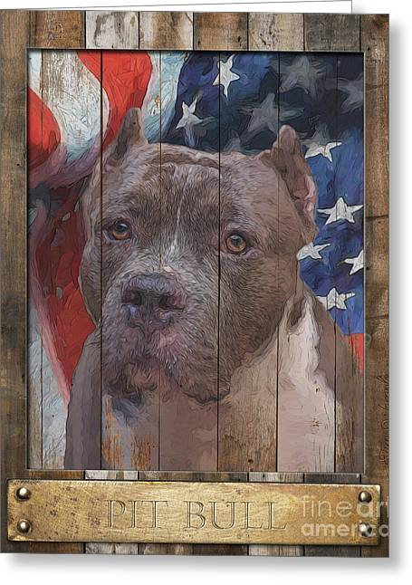 Pit Bull Flag Poster Greeting Card by Tim Wemple
