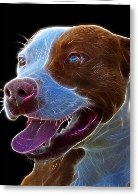 Pit Bull Fractal Pop Art - 7773 - F - Bb Greeting Card