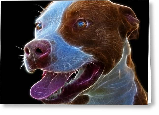 Pit Bull Fractal Pop Art - 7773 - F - Bb Greeting Card