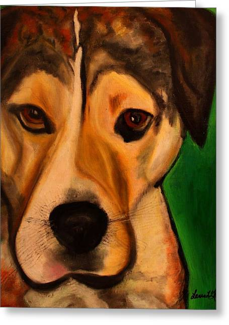 Greeting Card featuring the painting Pit Bull Mix - Buddy Ruff by Laura  Grisham