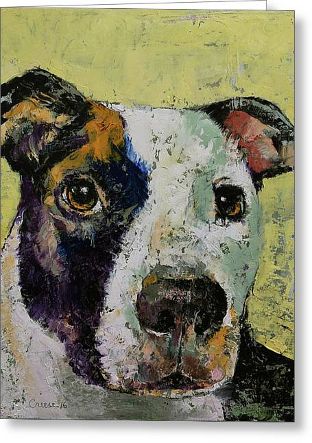 Pit Bull Portrait Greeting Card by Michael Creese