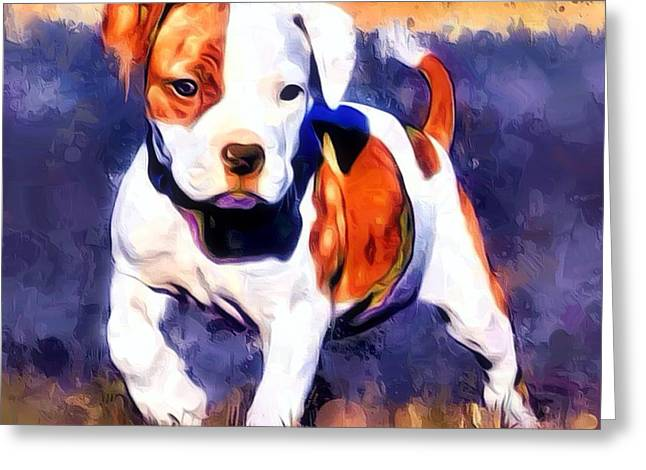 Pit Bull Pup Portrait Greeting Card