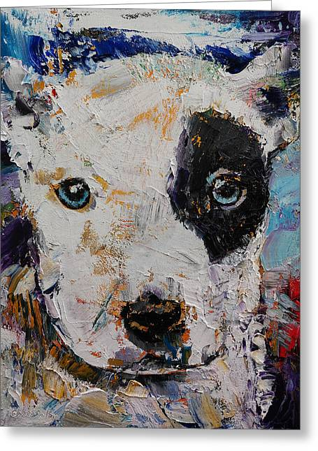 Pit Bull Puppy Greeting Card by Michael Creese