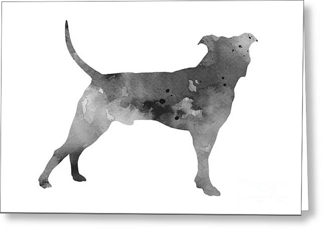 Pit Bull Silhouette Watercolor Art Print Painting Greeting Card by Joanna Szmerdt