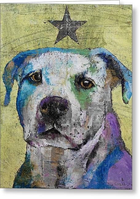 Pit Bull Terrier Greeting Card by Michael Creese