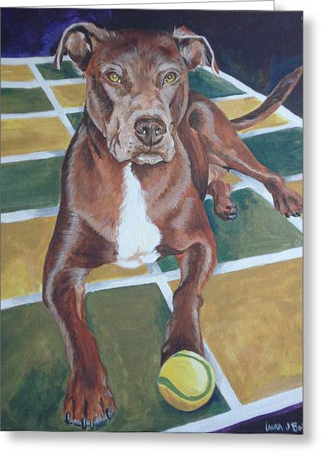 Pit With Ball On Rug Greeting Card by Laura Bolle