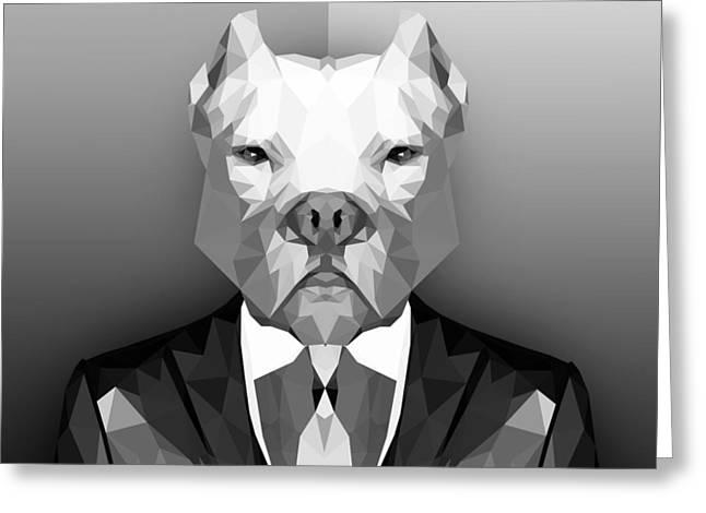 Pitbull 3 Greeting Card by Gallini Design
