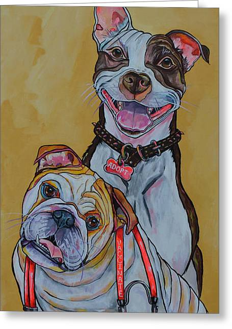 Greeting Card featuring the painting Pitbull And Bulldog by Patti Schermerhorn