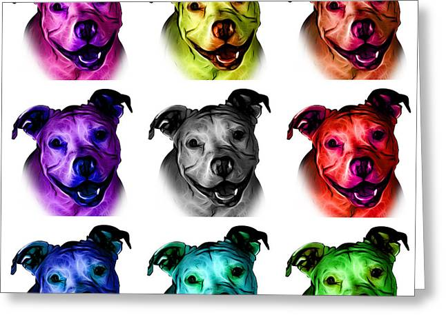 Pitbull Terrier - F - S - Wb - Mosaic Greeting Card by James Ahn