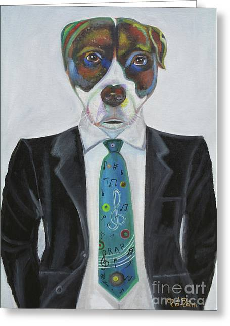 Pitbull With Rap Tie Greeting Card