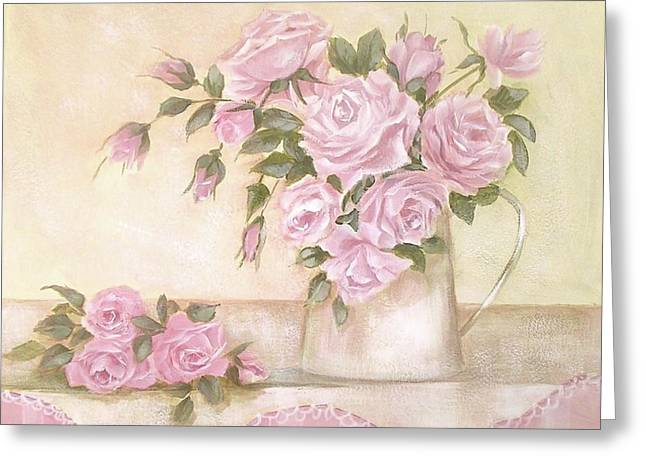 Pitcher Of  Pink Roses  Greeting Card