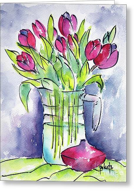 Greeting Card featuring the painting Pitcher Of Tulips by Pat Katz