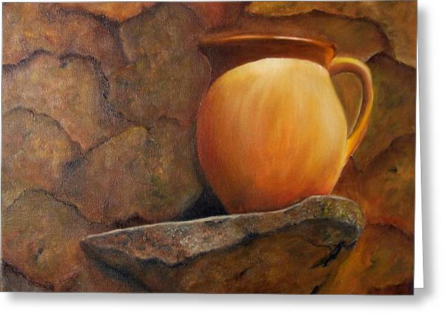 Pitcher On Stone Ledge. Sold Greeting Card