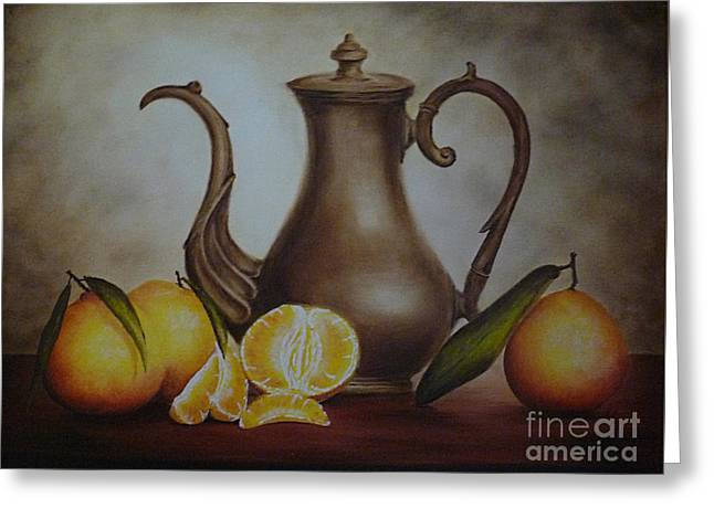 Pitcher With Oranges Greeting Card by Birgit Moldenhauer