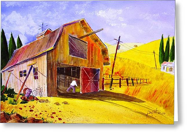 Pitching Hay Greeting Card by Buster Dight